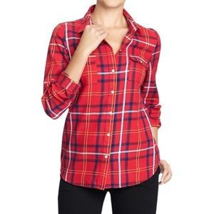 Old Navy Red Plaid Button Down Shirt